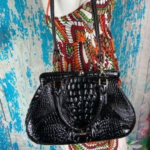 Brahmin layla Melbourne croc embossed frame bag